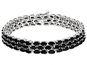 Black Spinel Sterling Silver Bracelet 22.50ctw
