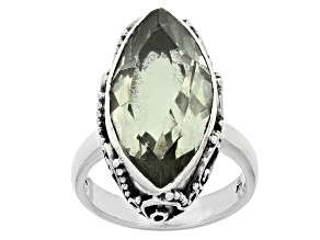Green Prasiolite Sterling Silver Ring 6.00ct