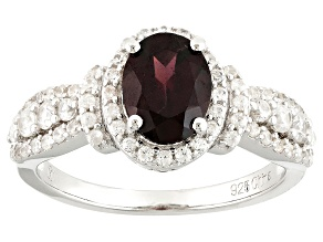 Red Zircon Sterling Silver Ring 2.54ctw