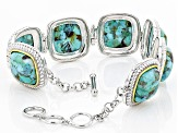 Blue Turquoise Sterling Silver And 14k Gold Over Silver Two-Tone Bracelet