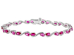 Red Lab Created Ruby Rhodium Over Sterling Silver Bracelet 7.38ctw