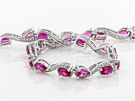 Red Lab Created Ruby Sterling Silver Bracelet 7.38ctw