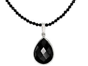 Black Spinel Rhodium Over Sterling Silver Necklace 27.00ctw