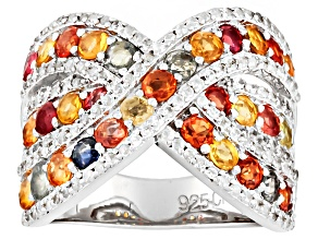 Multi Sapphire Sterling Silver Ring 3.00ctw