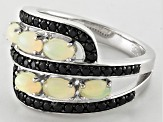Ethiopian Opal Rhodium Over Sterling Silver Ring 1.81ctw