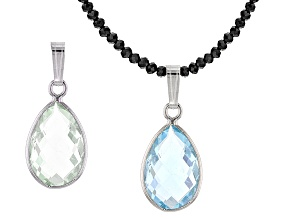 Blue Topaz Sterling Silver Pendant With Necklace 29.00ctw