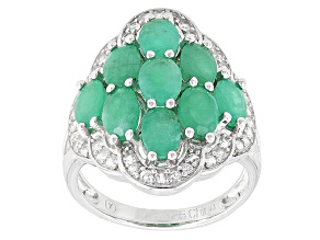 Green Emerald Rhodium Over Sterling Silver Ring 4.02ctw