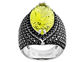 Canary Yellow Quartz And Black Spinel Sterling Silver Ring 9.10ctw