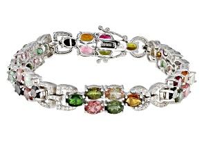 Multi Tourmaline Sterling Silver Bracelet 17.08ctw