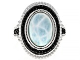 Blue Larimar Sterling Silver Ring .30ctw