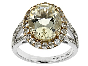Yellow Labradorite And White Topaz Sterling Silver And 14k Gold Ring 5.50ctw