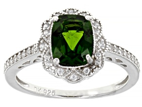 Green Chrome Diopside Rhodium Over Sterling Silver Ring 1.55ctw