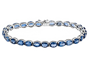 Blue Kyanite Rhodium Over Sterling Silver Tennis Bracelet 27.00ctw