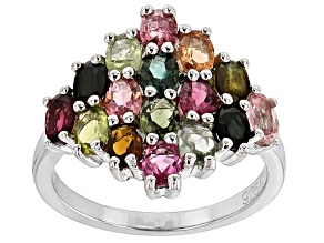 Multi Tourmaline Rhodium Over Sterling Silver Ring 3.00ctw