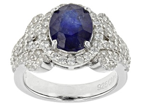 Mahaleo Sapphire Sterling Silver Ring 4.90ctw