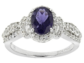 Blue Iolite Sterling Silver Ring 2.06ctw