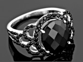 Black Spinel Sterling Silver Ring 6.50ctw