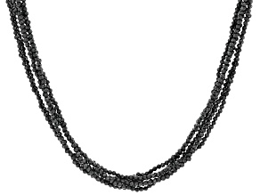 Black Spinel Rhodium Over Sterling Silver Bead Necklace 90.00ctw