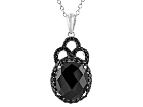 Black Spinel Sterling Silver Pendant With Chain 6.35ctw