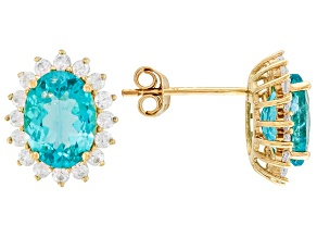 Blue Apatite 14k Yellow Gold Earrings 3.25ctw