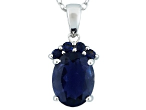 Blue Iolite Sterling Silver Pendant With Chain 1.50ctw