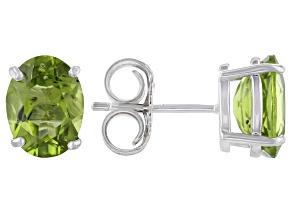 Green Peridot Rhodium Over Sterling Silver Earrings 4.00ctw