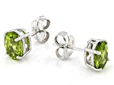Green Peridot Rhodium Over Sterling Silver Earrings 4.00ctw
