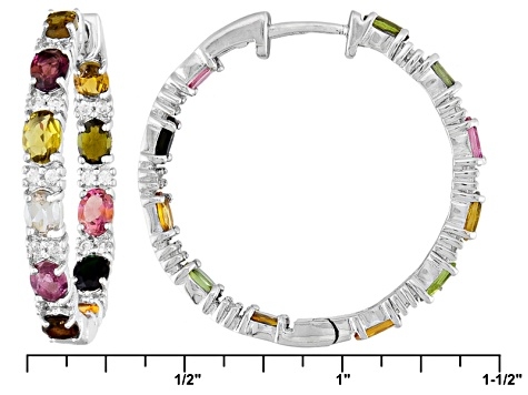 Multi Tourmaline Rhodium Over Sterling Silver Hoop Earrings 3.25ctw