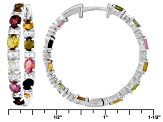 Multi Tourmaline Sterling Silver Hoop Earrings 3.25ctw