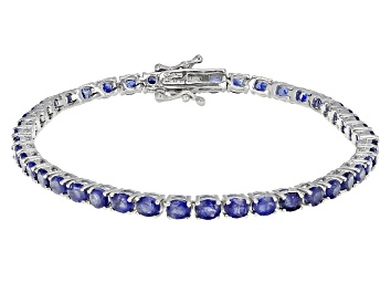 Picture of Blue Mahaleo Sapphire Rhodium Over Sterling Silver Bracelet 10.00ctw