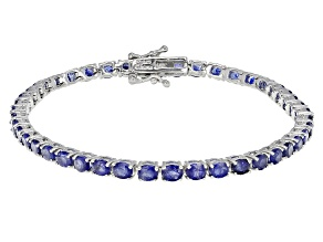 Blue Mahaleo Sapphire Rhodium Over Sterling Silver Bracelet 10.00ctw