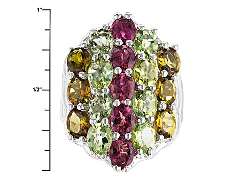 Pink Multi Tourmaline Sterling Silver Ring 5.70ctw