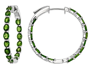 Green Chrome Diopside Sterling Silver Earrings 4.65ctw