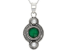 Green Onyx Sterling Silver Pendant With Chain 3.00ctw