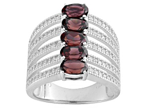 Red Zircon Sterling Silver Ring 3.45ctw