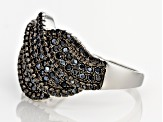 Black Spinel Rhodium Over Sterling Silver Ring 1.00ctw