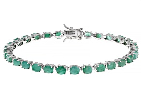 Green Emerald Rhodium Over Sterling Silver Tennis Bracelet 8.50ctw