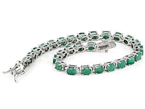 Green Emerald Sterling Silver Tennis Bracelet 8.50ctw
