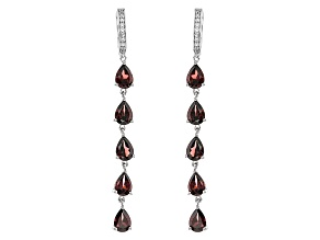 Red Zircon Sterling Silver Earrings 11.54ctw