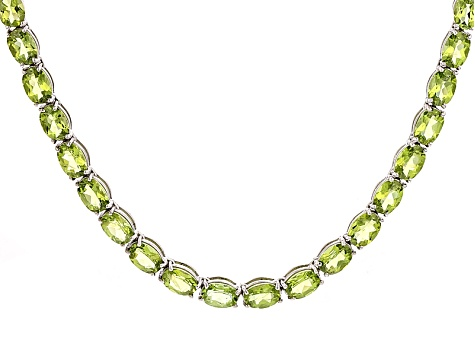 Green Peridot Sterling Silver Necklace 52.95ctw