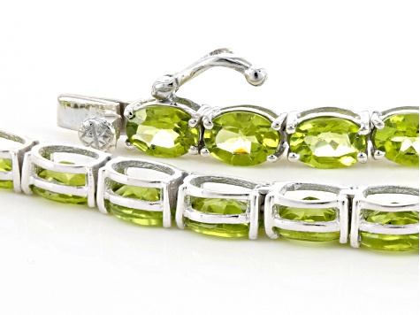 Green Peridot Rhodium Over Sterling Silver Necklace 52.95ctw
