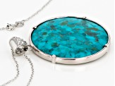 Blue Turquoise Sterling Silver Pendant With Chain .81ctw
