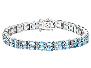 Swiss Blue Topaz Sterling Bracelet 15.50ctw
