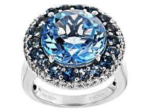Swiss Blue Topaz Sterling Silver Ring 10.33ctw