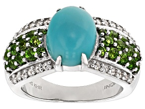 Blue Turquoise Sterling Silver Ring 1.12ctw