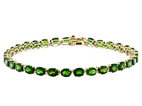 Green Chrome Diopside 10k Yellow Gold Tennis Bracelet 12.25ctw
