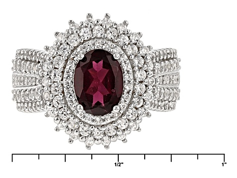 Purple Rhodolite And White Zircon Sterling Silver Ring 3.40ctw