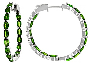 Green Chrome Diopside Sterling Silver Earrings 8.20ctw