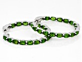 Green Chrome Diopside Rhodium Over Silver Earrings 8.20ctw