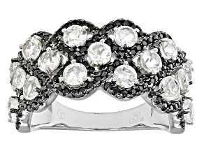 White Danburite And Black Spinel Sterling Silver Ring 2.80ctw